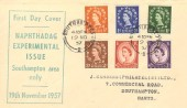 1957, Naphthdag Experimental Graphite Issue, ½d to 3d, 6 Values, Sanders Display FDC, Southampton cds.