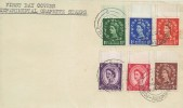 1957 Naphthdag Experimental Graphite Issue, ½d to 3d, 6 Values, Plain FDC, Bournemouth - Poole cds.