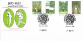 1983 British Garden, Hornchurch Cricket Club Official FDC, Bicentenary Hornchurch Cricket Club H/S.