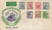 1953 Coronation, set of 7 Lundy Puffin Local stamps 2nd June Lundy Island FDC, Lundy Coronation God Save the Queen H/S.