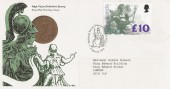 1993 £10 Britannia Definitive, Royal Mail High Value FDC, Scarce National Postal Museum H/S.