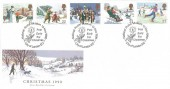 1990 Christmas, Royal Mail FDC, National Postal Museum Post Early For Christmas City of London EC H/S.