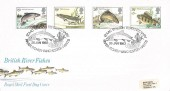 1983, British River Fish, Royal Mail FDC, Izaac Walton Tercentenary River Itchen Winchester Hants. H/S,