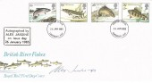 1983, British River Fish, Royal Mail FDC, Canterbury FDI, Signed by Alex Jardine Stamp Designer with Cachet.