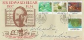 1985 Composers, Covercraft Edward Elgar FDC, First Day of Issue Worcester H/S, Signed by Sir Yehudi Menuhin Violinist.