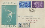 1948 Olympic Games Wembley, Registered Illustrated FDC, 2½d &3d stamps only, Addiscombe E. Croydon Surrey cds