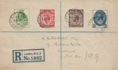 1929, KGV Postal Union Congress Low Values ½d, 1d, 1½d, 2½d, Registered Plain Cover, FDC, 173-4 East Strand BO WC2 cds