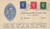 1937, King George VI, First Definitive Issue  ½d, 1d, 2½d, Westminster Stamp Company Illustrated FDC, London WC Cancel