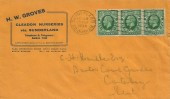 1934, King George V, strip of 3 ½d Green Photogravures, H.W. Groves Cleadon Nurseries Advertising Cover FDC, Sunderland Co. Durham Cancel