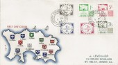1969, Jersey First Postage Due set 1d, 2d, 3d, 1/-, 2/6d, 5/-, Illustrated FDC, Jersey Channel Islands cds