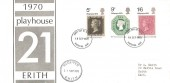 1970 Philympia, Guild Playhouse 21st Anniversary Erith FDC, Dartford FDI