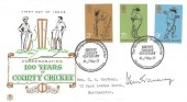1973 County Cricket Centenary, Stuart FDC, The Birthplace of English Cricket Hambledon Portsmouth Hants, Signed Tom Graveney.