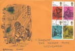 1970, Literary Anniversaries, Hand Illustrated Barnaby Rudge FDC, Block of 4 Dickens 5d stamps, Stevenage FDI.