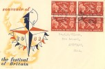 1951 Festival of Britain, Pair of Festival Souvenir FDC's, Blocks of 4, Festival of Britain May 3 - 30 Sept Cardiff Slogan.