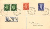 1937, King George VI ,½d, 1d, 2½d Definitives, Registered Plain FDC, The Triangle Kingston Upon Thames Surrey cds.