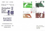 1977 Racket Sports, Sanquhar Post Office FDC, Sanquhar Dumfriesshire cds