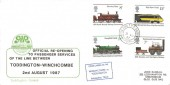 1987, Official Re-Opening to Passenger Services Between Toddington - Winchcombe Railway Cover. Midland TPO GG South cds
