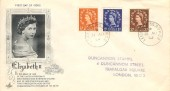 1953, QEII ½d, 1½d, 2d Wilding Definitive Issue, Art Craft FDC, Leicester SQ BO WC2 cds.