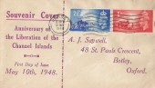 1948 Channel Islands Liberation, A J Saywell Souvenir FDC, Jersey Cancel
