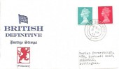 1969, 4d Red & 8d Turquoise QEII Definitive Issue, Philcovers FDC, Enfield Middx. cds
