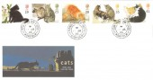 1995 Cats, Royal Mail FDC, Sandringham House Norfolk cds