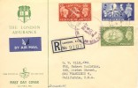 1951 Festival of Britain, Registered Air Mail The London Assurance FDC, Lombard Street BO EC3 cds