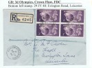 1948 Olympic Games Wembley, Plain FDC, Block of 4 3d's, bottom left stamp has Crown Flaw, Evington Road Leicester cds