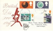 1967 British Discoveries, Illustrated Microscope FDC, Cambridge FDI, Signed by the Stamp Designer Clive Abbot
