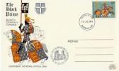 1974, Great Britons Canterbury Cathedral The Black Prince FDC Card, Canterbury FDI
