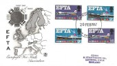 1967, European Free Trade Area (EFTA), Stuart FDC, Phosphor & Ordinary stamps on the same cover, London WC FDI