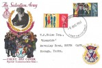 1965 Salvation Army, Illustrated FDC, Hull Yorkshire FDI,  with The Salvation Army 1865 - 1965 Centenary  Badge Label on the Cover