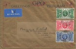 1935 First Day of Issue of The GPO Greetings Telegram, Original GPO Greetings Telegram Envelope & Form, Sutton Coldfield Birmingham cds