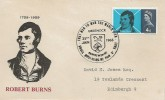 1966 Robert Burns, Illustrated FDC, 4d Stamp only, That Man to Man The Warld O'er Shall Brothers be for A' That Greenock H/S