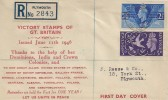 1946 Victory, Registered Display FDC, Plymouth Devon cds