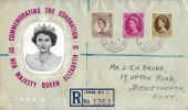 1953, QEII Wilding Definitive Issue, 5d, 8d, 1/- QEII Registered Coronation FDC, Charing Cross BO WC2 cds
