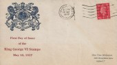 1937, King George VI 1d Red Definitive, Illustrated FDC, Manchester Cancel