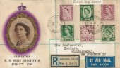 1958 Northern Ireland, Scotland, Wales 6d & 1/3d Regionals, Registered 1953 BPS / PTS Coronation FDC, Liverpool Street Station EC3 cds