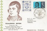 1966 Robert Burns, Kilmarnock Edition Card, 4d Stamp only, Kilmarnock Ayrshire H/S, Robert Burns Scotland one Groat Label