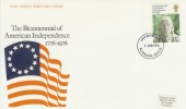 1976 USA Bicentenary Post Office  FDC, Plymouth FDI