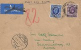 1935 King George V, 2½d, 3d Photogravures, Plain Flight FDC to Austria, Liverpool cds, Vienna Receiving Postmarks front & back