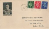 1937, King George VI Definitive issue, ½d, 1d, 2½d, Illustrated FDC, London W1 Cancel