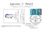 1966 Robert Burns, Postcard of Burns Cottage Alloway Ayr, 4d Phosphor Stamp only, Alloway Ayrshire H/S + Burns Cottage Book Label