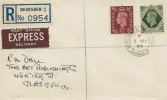 1939 King George VI, 9d, 10d, 1/- Definitive Issue, on Matching Set of 3 Plain Registered Express Delivery FDC's, Kessington Bearsden Glasgow cds