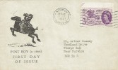 1960 General Letter Office, Post Boy Illustrated FDC, 3d Stamp only Norwich Norfolk Cancel