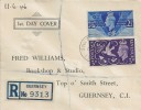 1946 Victory, Registered Fred Williams Bookshop FDC, Guernsey Channels Islands cds