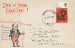 1970 Literary Anniversaries, Hand Painted FDC 5d Pickwick Stamp only, Weston Super Mare Somerset cds