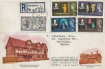 1964 Shakespeare Festival, Registered Illustrated FDC, Green Lane Portsmouth cds
