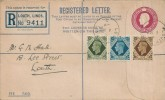 1939 King George VI 9d, 10d, 1s Definitive Issue, KGV G Size Registered Stationery Envelope FDC, Louth Lincs. cds
