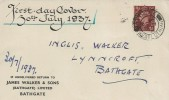 1937, King George VI 1½d Brown Definitive Issue, James Walker & Sons Envelope FDC, Bathgate West Lothian cds