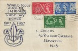 1957 Scout Jubilee Jamboree, Hand Illustrated FDC, London N1 Cancel